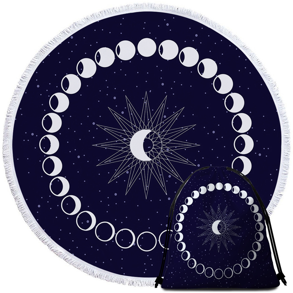 Moon Printed Microfiber Bath Towel & Bag